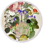Flowerbomb Notes 3 - By Diana Van  Round Beach Towel