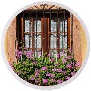 Flowered Window # II Round Beach Towel