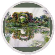 Flowering Arches, Giverny Round Beach Towel