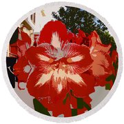 Flowering Backyard Work Number 33 Round Beach Towel