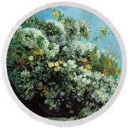 Flowering Branches And Flowers Round Beach Towel