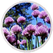 Flowering Chives Round Beach Towel