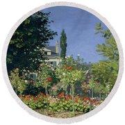 Flowering Garden At Sainte-adresse Round Beach Towel