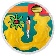 Flowering Melody Round Beach Towel