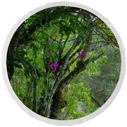 Flowering Trees Near The Path Round Beach Towel
