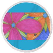 Flowers-15 Round Beach Towel