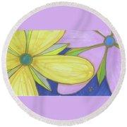 Flowers-5 Round Beach Towel