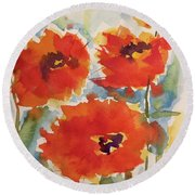 Poppies Wanted Round Beach Towel