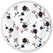 Flowers All Around Round Beach Towel
