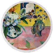 Flowers And A Japanese Print Round Beach Towel by Paul Gauguin