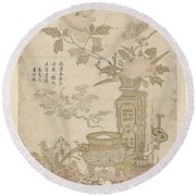 Flowers And Burning Censer, Anonymous Round Beach Towel
