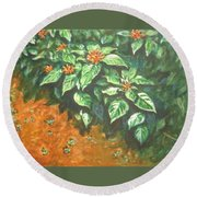 Flowers And Earth Round Beach Towel
