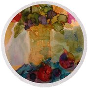 Flowers And Figs Round Beach Towel
