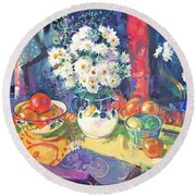 Flowers And Fruit In A Green Bowl Round Beach Towel