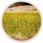 Flowers And Horses Near Setinil Spain Round Beach Towel