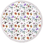 Flowers And Hummingbirds 1 Round Beach Towel