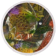Flowers And Leaves Round Beach Towel