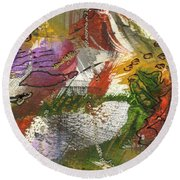 Flowers And Leaves IIi Round Beach Towel