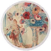Flowers And Porcelain Round Beach Towel