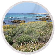 Flowers And Surf Round Beach Towel