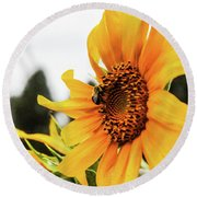 Flowers And The Bees Round Beach Towel