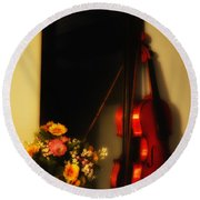 Flowers And Violin Round Beach Towel