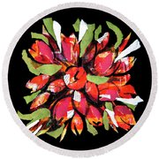 Flowers, Art Collage Round Beach Towel
