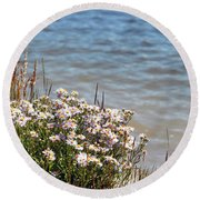 Flowers At The Lake Round Beach Towel