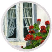 Flowers At The Window Round Beach Towel