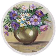 Flowers,still Life Round Beach Towel