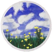 Flowers Bright Field Round Beach Towel