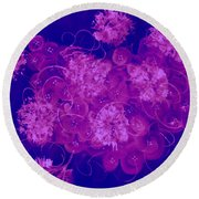 Flowers, Buttons And Ribbons -shades Of  Blue To Fuchsia Round Beach Towel