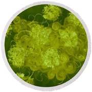 Flowers, Buttons And Ribbons -shades Of Chartreuse Round Beach Towel