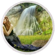 Flowers By The Falls Round Beach Towel