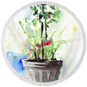 Flowers By The Pool Round Beach Towel