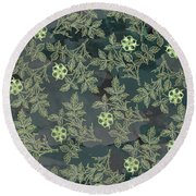 Flowers Fabric Print Design Round Beach Towel