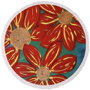 Flowers For M Round Beach Towel