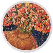 Flowers For Mary Round Beach Towel