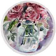Flowers From The Garden Round Beach Towel