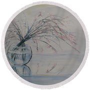 Flowers Glass Water And Mirror Round Beach Towel