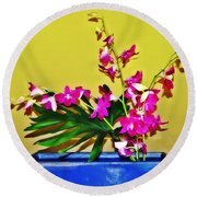 Flowers In A Blue Dish - Japanese House Round Beach Towel