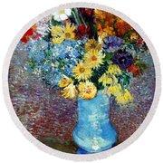 Flowers In A Blue Vase  Round Beach Towel