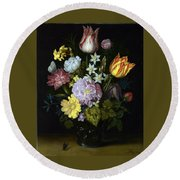 Flowers In A Glass Vase Round Beach Towel