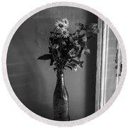 Flowers In A Peculiar Vase Round Beach Towel