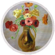Flowers In A Pitcher -11 Yrs Old Round Beach Towel
