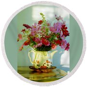 Flowers In A Teapot Round Beach Towel