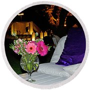 Flowers In A Vase On A White Table Round Beach Towel