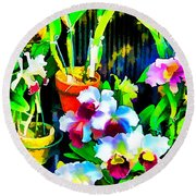 Flowers In Abstract 18 Round Beach Towel