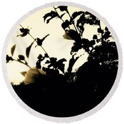 Flowers In Black And White Round Beach Towel