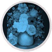 Flowers In Blue Round Beach Towel